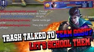 5man Rank, Trash Talking to Team Gosu? Trash Talkers Got Schooled l Mobile Legends