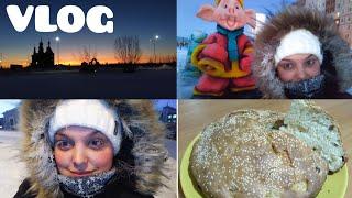 VLOG:Приступ золушки.Лютый север.Рецепт яблочного бисквита.Тестирую новую  кухонную утворь(27.12.18)