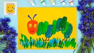 Как нарисовать гусеницу - урок рисования для детей от 4 лет, гуашь,  рисуем дома поэтапно
