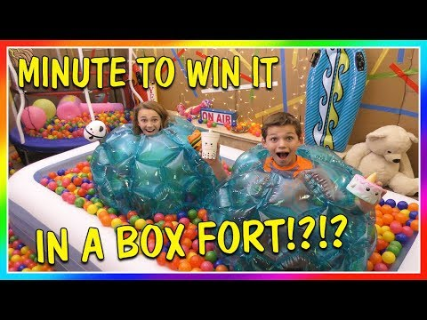 MINUTE TO WIN IT SQUISHIES IN A BOX FORT | We Are The Davises
