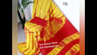 Soft Mul Mul Cotton Sarees with Attached Blouse||Pranavee Collections