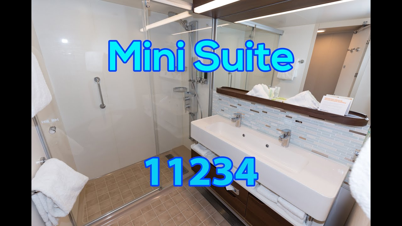 Stateroom tour mini suite 11234 norwegian escape youtube for Cruise balcony vs suite