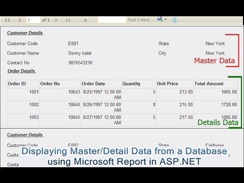 Displaying Master/Detail Data from a Database using Microsoft Report