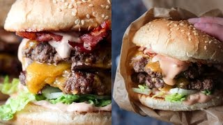 How To Make Double Bacon Cheeseburger - Fast Food Friday - By One Kitchen Episode 792