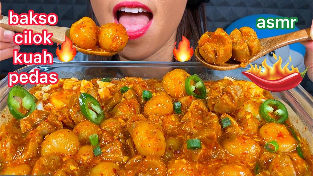 MAKAN BAKSO CILOK KUAH PEDAS *EATING SPICY MEATBALLS+ TAPIOCA BALLS ASMR 먹방 Sounds