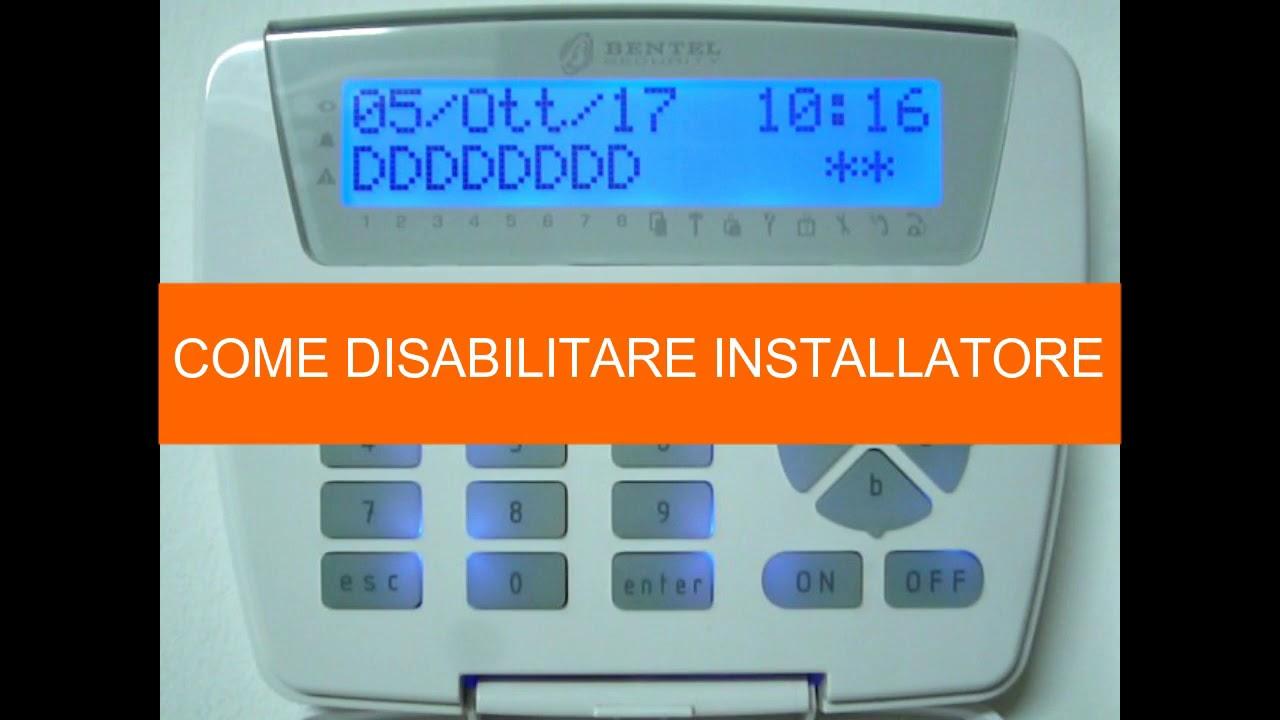Come abilitare disabilitare installatore antifurto bentel for Bentel security absoluta