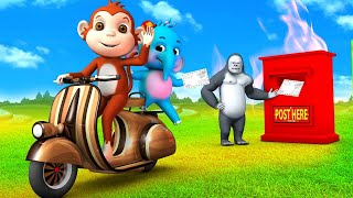 Gorilla Makes Wooden Scooter Vespa For Monkey   Postman in Forest Funny Animals 3D Videos in Jungle