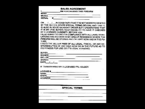Zomtec Armory  Document  Sample Firearm Sales Agreement  Youtube