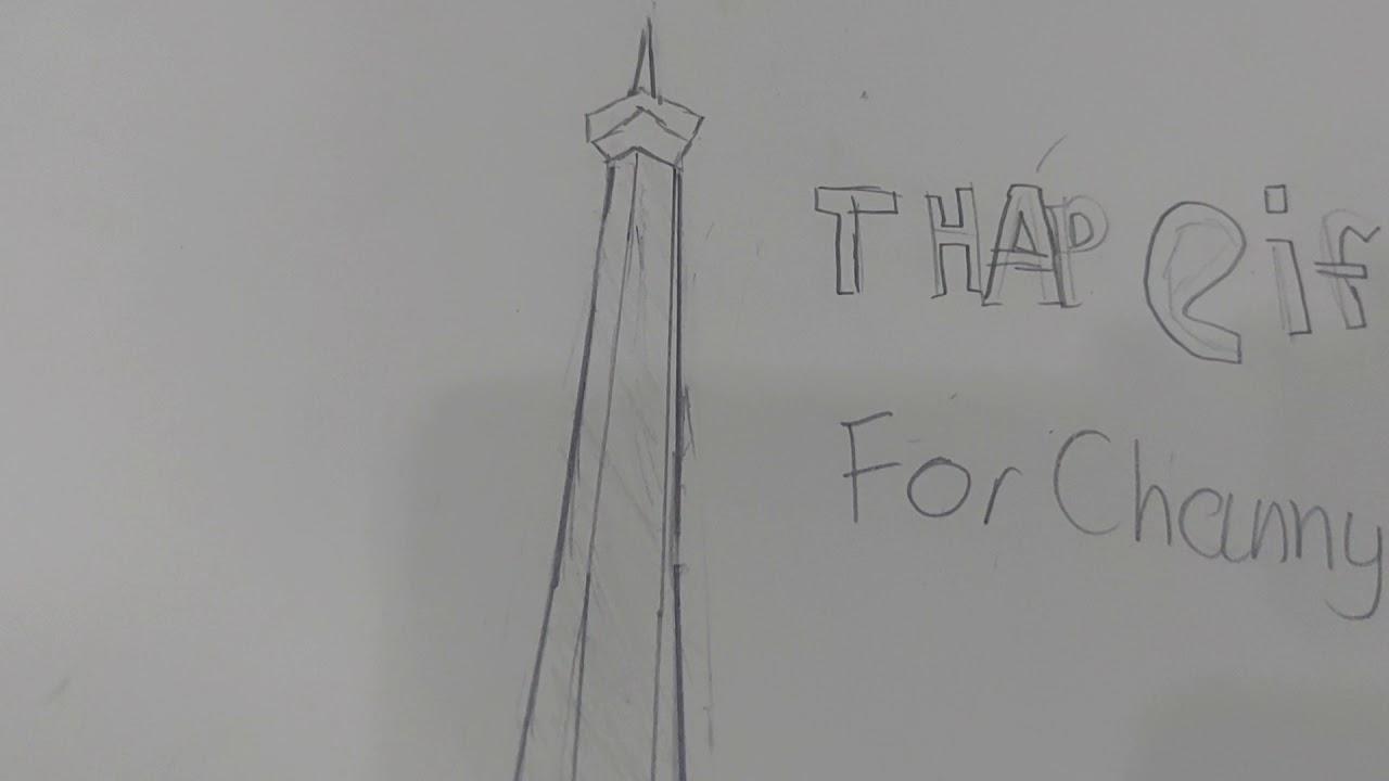 Channy Khang vẽ tháp Eiffel  of Paris bằng bút chì