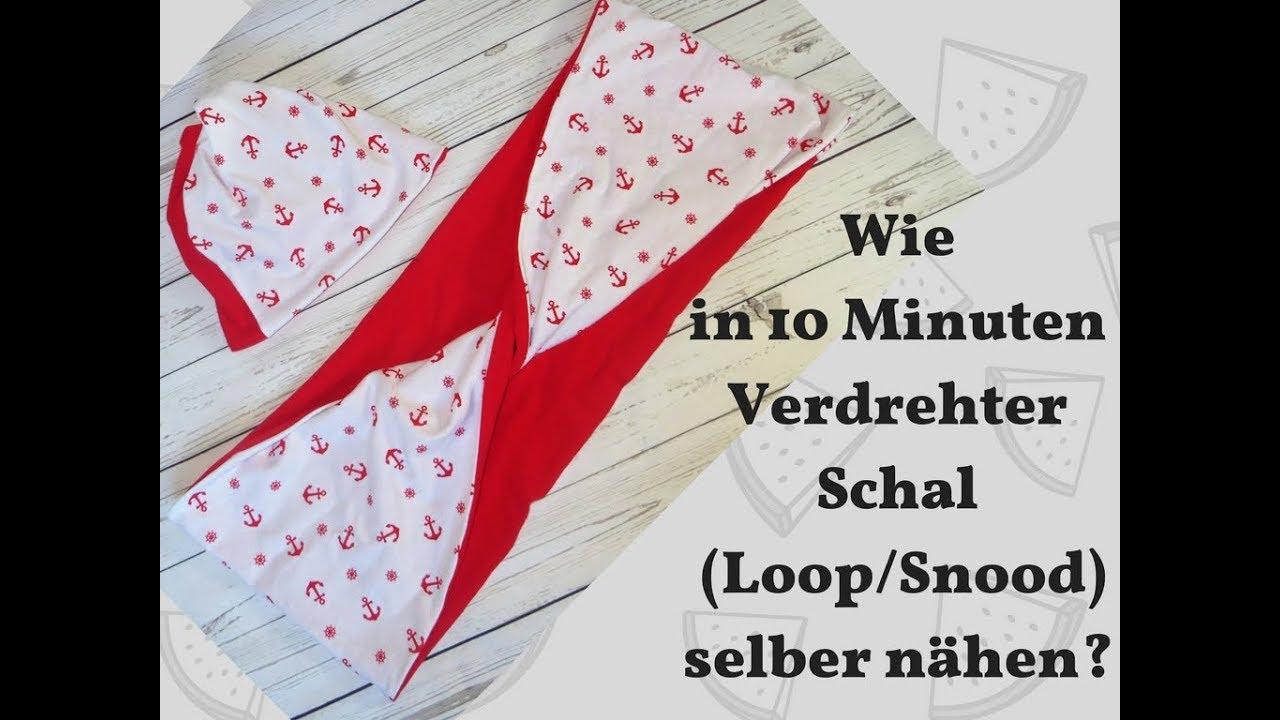 Verdrehter Schal Loop Snood selber nähen - YouTube