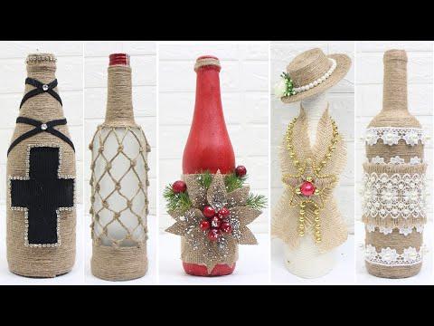 10 Jute bottle decoration ideas   Home decorating ideas easy