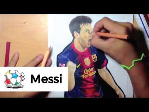 Dibujo de Lionel Andrs Messi celebrando su segundo gol al Real