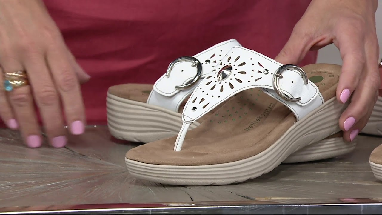ef4f567fd52 Earth Origins Perforated Wedge Sandals - Grayson on QVC - YouTube