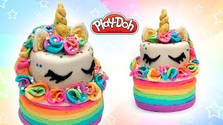 Play Doh Rainbow Unicorn Cake. Play Doh for Kids and Beginners. DIY Toy Food for Dolls