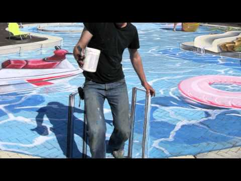 3D street art swimming pool