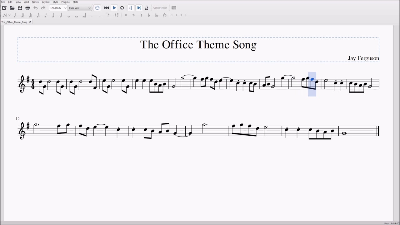 The Office Theme Song for Alto/Bari Sax Sheet Music - YouTube