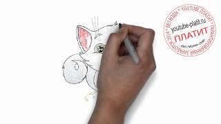 Нарисованные картинки кошек  Как нарисовать карандашом влюбленную кошку с красивым цветком