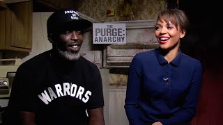 Michael K Williams and Carmen Ejogo interview - The Purge Anarchy 2014 HD