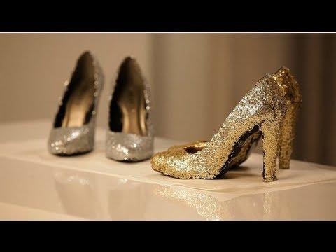 8f7ff603fe55 How to Make Glitter Shoes à la Miu Miu! - YouTube