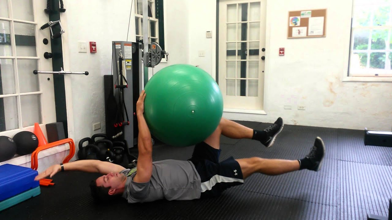 Dead Bug Exercise With Swiss Ball - YouTube