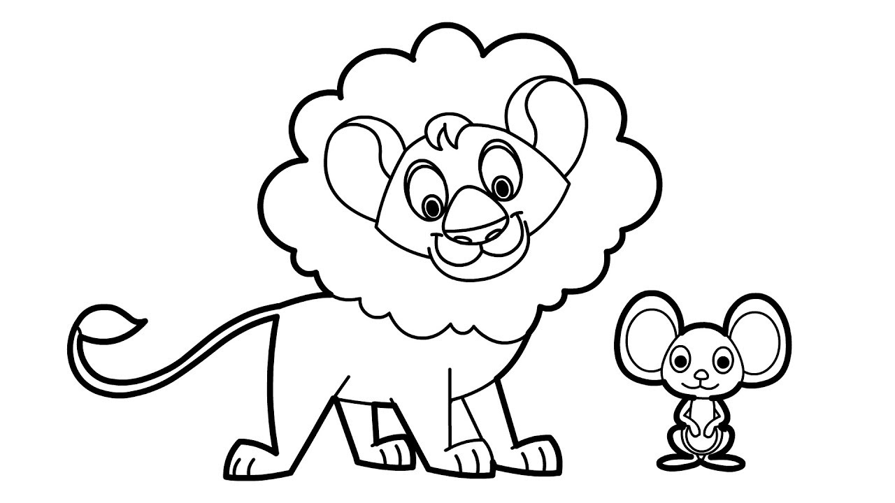 How To Draw Cute Lion The Mouse Animation Cartoon For Beginner S Youtube This step by step tutorial shows how to draw a lion's face and head going from a basic shape sketch to a finished line drawing. how to draw cute lion the mouse animation cartoon for beginner s