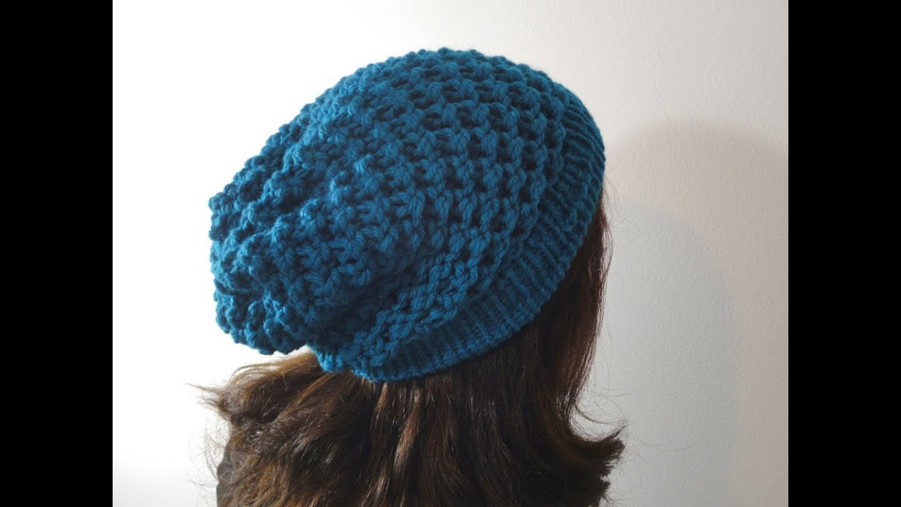Tutorial on How to Loom Knit a Slouchy Beanie Hat - YouTube