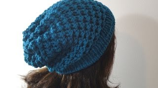 Tutorial on How to Loom Knit a Slouchy Beanie Hat