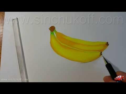 Как нарисовать банан карандашом поэтапно для детей