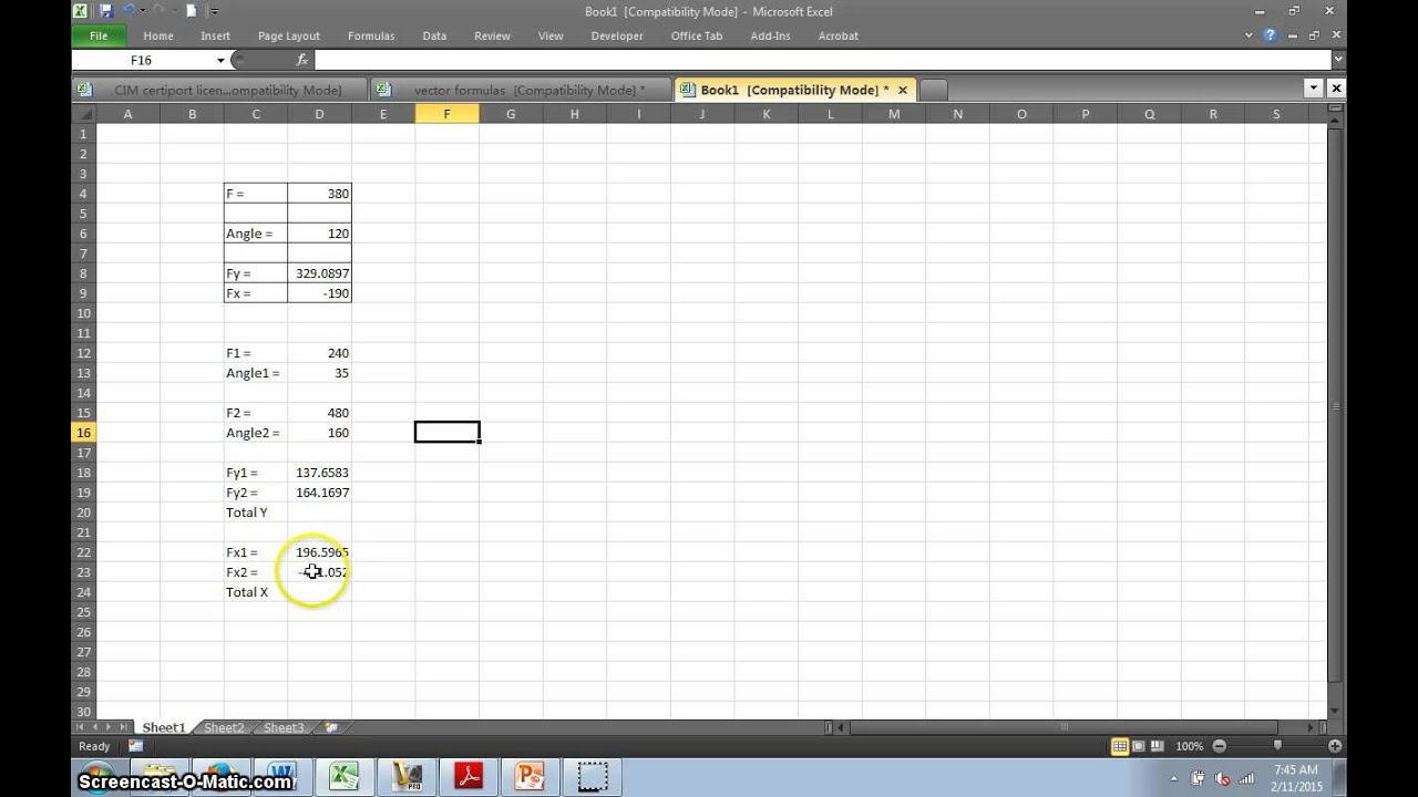 Solving X and Y components of vectors with a Spreadsheet YouTube – Components Of A Spreadsheet