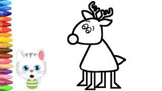 الرسم والتلوين للأطفال   كيفية رسم الرنة الصغيرة مع ميمي   الرسم للأطفال   الأطفال ألوان الفيديو