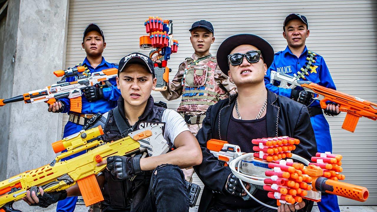 LTT Game Nerf War : Patrol Police Warriors SEAL X Nerf Guns Fight Crime Begrudge Braum Crazy