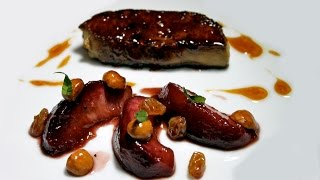 2 Michelin starred chef Olivier Limousin's Foie Gras with Peaches and Hazelnuts