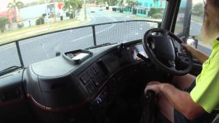Volvo FH12 with 14 speed gearbox driving from the factory to the freeway.