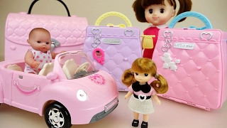 Little Baby doll house bags pet shop and car toys play
