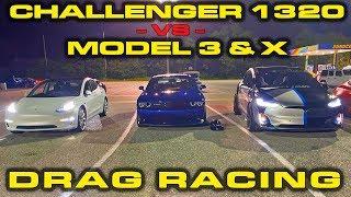DEDICATED DRAG CAR vs Tesla Model 3 & Model X Performance 1/4 Mile