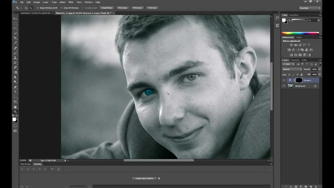 Photoshop cs6 colored eyes in black white photo youtube