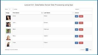 Laravel 5.8 - DataTables Server-side Processing
