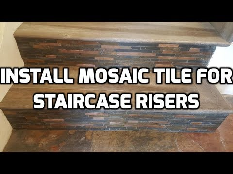 Install Mosaic Tile For Staircase Risers Youtube | Wood Stairs With Tile Risers | Grey | Diy | Design | Mosaic | Stone