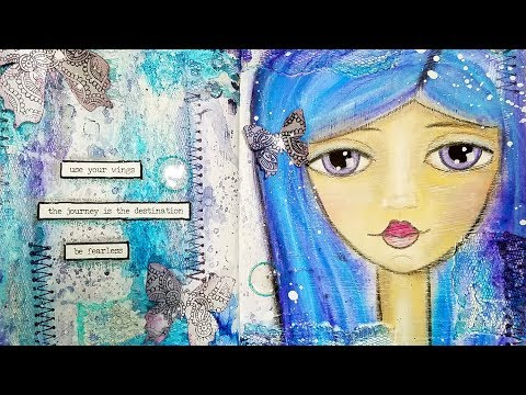 Whimsical Girl Face - Mixed Media Art Journal Process Video