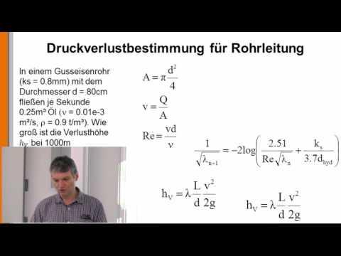 Hydraulik 28: Druckverlustbestimmung für Rohrleitung bei gegebenem Durchfluss from YouTube · Duration:  5 minutes 56 seconds