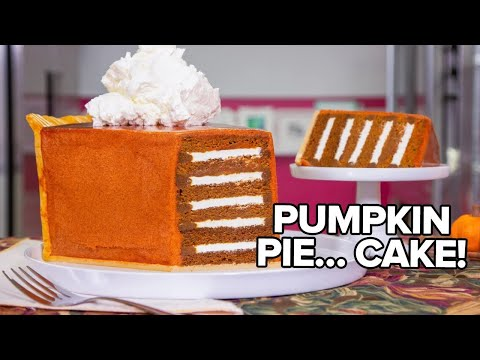GIANT Pumpkin Pie Slice made of CAKE! | Thanksgiving Baking w/ Jordin Sparks!! | How To Cake It