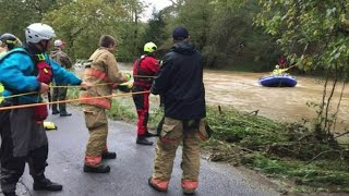 Montgomery County school bus brought to safety by swift water rescue team