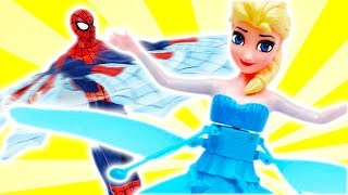 Flying Frozen Elsa & Spiderman Toys