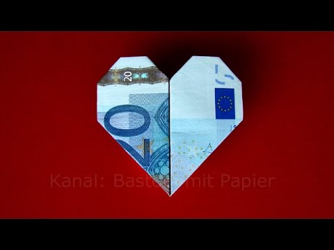 Money folding Heart: How to fold a heart with money - DIY