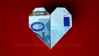 Geldschein falten Herz - Geldgeschenke basteln Hochzeit - Geld falten einfach - Origami - DIY