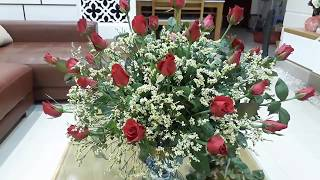 Cắm hoa-cắm hoa hồng kết hợp salem trắng rực rỡ cho ngày mới flower arrangement-huong dan cam hoa