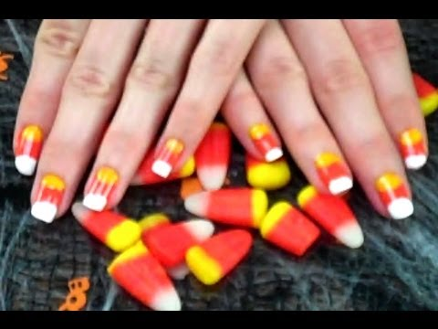 Halloween Tutorial: Candy Corn Nails! - Halloween Tutorial: Candy Corn Nails! - YouTube