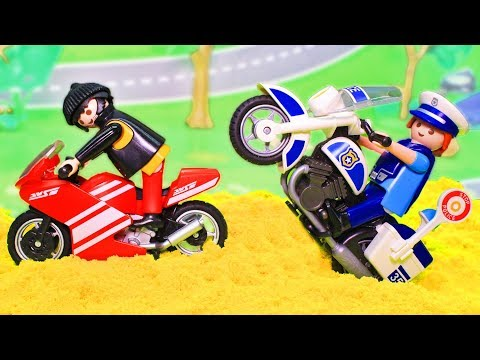 Мультики про машинки для детей - видео с игрушками Плеймобил полицейский мотоцикл – Погоня!