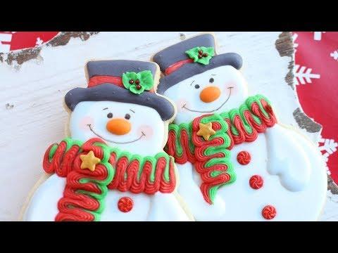 Christmas Cookies  Snowman Cookies - How to make Christmas Cookies - Instrumental satisfying videos