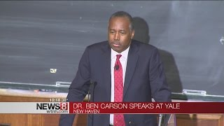 "Dr. ben carson spoke about the ""value of common sense"" at a forum yale university thursday night."
